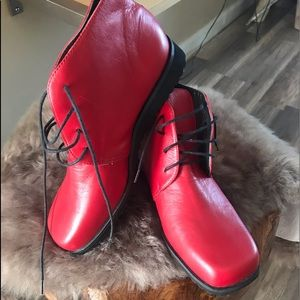 Shoes - Gorgeous red genuine leather booties! New!Size 5.5